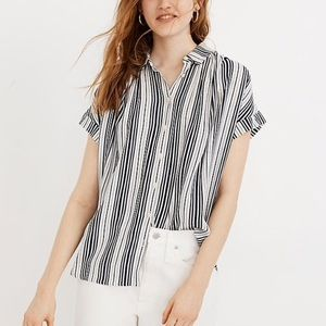 Madewell Central Drapey Shirt in Fairborn Stripe S
